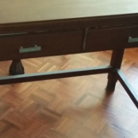 Two-drawer solid wood table