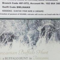 Ticket to win Buffalo hunt in Tanzania for 2 people