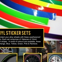 Adhesive Wheel Decoration Stickers (set of 16)  Assorted colours  Garmin range of cycle computers an