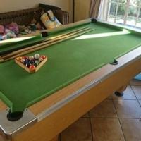 Pool table plus 3 cues plus balls