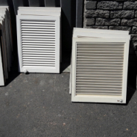 Cupboard doors with strip hinges  (louvered)