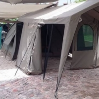 Canvas Dome Tent 3x3m with Extension.