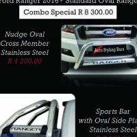 Ford Ranger 2016+ Nudge Bar & Rollbar Oval Range Stainless Steel Combo R8300.00 and more