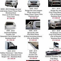 Toyota Hilux 2005-2015 & 2016+ Nudge Bars, Rollbar, Side Steps and Towbars