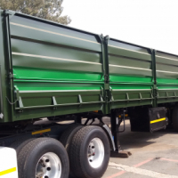 Refurbished mass side tri axle trailer.