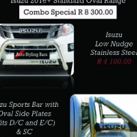 Isuzu 2016+ Nudge Bar & Rollbar Oval Stainless Steel Range R8300.00 and more