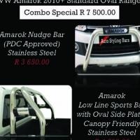 VW Amarok Nudge Bar PDC Friendly & Rollbar Oval Range Stainless Steel Combo R7500