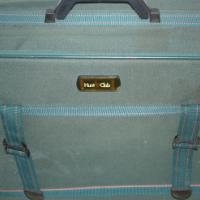 """Medium sized """"Hunt Club"""" green cloth suitcase"""