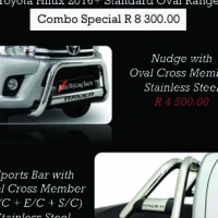 Toyota Hilux 2016+ Nudge Bar & Rollbar Oval Stainless Steel Combo R8300.00 and more