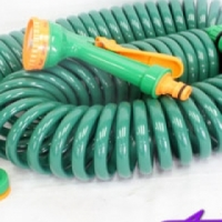 15m Coiled Garden Hose & Attachement Kit