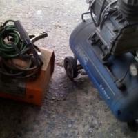 Olie bad sweismasjien en kompressor