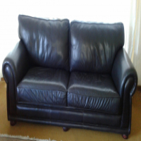 Leather couch, full-grain leather in Oxblood colour.  Good condition.