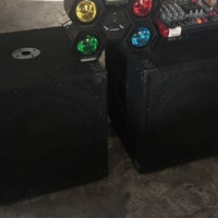 "Like Brand New 2x 15"" Speakers (Tops) with 2x stands, 2x 15"" Base Bins & a Powered Mixer & Disco..."