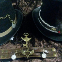 Steampunk costume dressup items for hire and sale including fobwatches and tophats