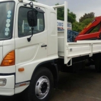 2012 Hino 8 ton drop side with Palfinger PK15500 crane for sale