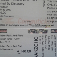 Justin Bieber Purpose World Tour Concert Tickets x 4 with park and ride.