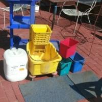 Utility trolleys,Mop  buckets,small plastic buckets and liquid floor polish.