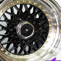"""15"""" IVD OR07 Black with Gold Stud 4/100 & 4/114 Wheels"""