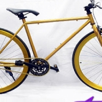 Gold & Black Retro Fixie Bicycle