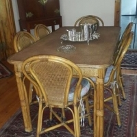 Beautiful Dinning Room Set Table + 6 Chairs + Tee Trolley