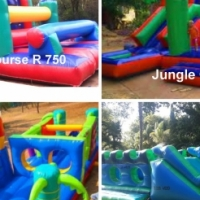 Jumping castle bubble machine  banners waveslide gladiator and waterslide for hire