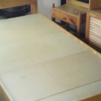 Bed, side table & small cupboard
