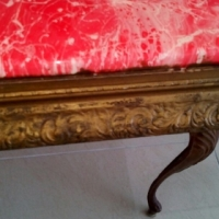 Red marble top metal tables for sale . Good condition a bargain.