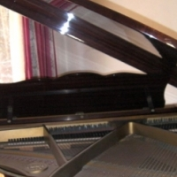 Carl Otto baby grand piano with a walnut case. Includes a matching bench