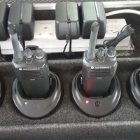 8 Motorola CP040 Walkie Talkies with flight cases, professional charging unit and headsets