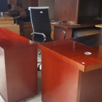 Executive office desk with credenza