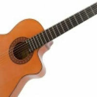 Acoustic guitar has great spanish flavor