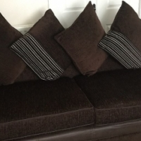 DFS Corner sofa & three seater sofa brown fabric & soft leather +27732856923
