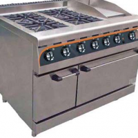 ANVIL GAS STOVE WITH ELECTRIC OVEN - COMBI/FLAT TOP - 4 BURNER