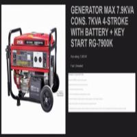 Ryobi Generator 7.9KVA Petrol Key Start Single Phase