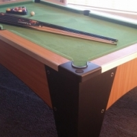 POOL TABLE AND ACCESSORIES - CUES AND BALLS