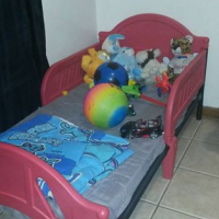 Toddler red bed.
