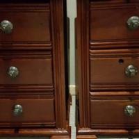 Matching Pair of Sleeper Wood Rodesian teak pedestals.