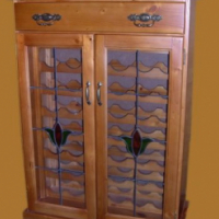 New 48 Winerack with flower, brass, drawer