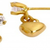 9CT SOLID YELLOW GOLD CUBIC ZIRCONIA AND HEART EARRINGS