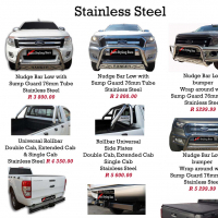 Ford Ranger Nudge Bars, Rollbar, Side Steps, Tonneau Covers & Towbars Stainless