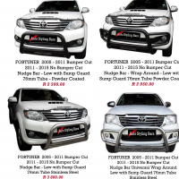 Toyota Fortuner 2005 - 2015 & 2016+ Nudge Bars, Side Step & Towbar