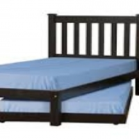 BRAND NEW RAW WOODEN BED & MATTRESS WITH LINEN.
