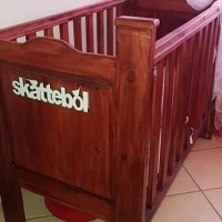 Pine wood, wild cherry stained cot