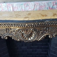 """Freestanding """"fireplace""""with marble top"""