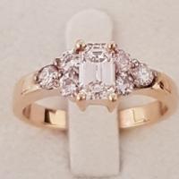 18ct Y/G Emerald Cut Diamond Ring