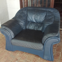 Blue Leather Couch Single