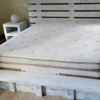 Box bed with headboard Cottage Elegant series Queen size Combo - Chalk paint distressed