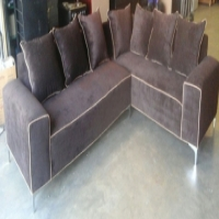 (R) NEW Brown Velvet L-Shape Couch_R6000