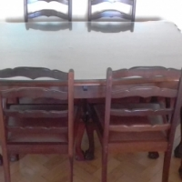 Imbuia Dining Table With 6 Chairs Glass Top