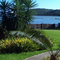 Extended park home on the Gulu river waters edge